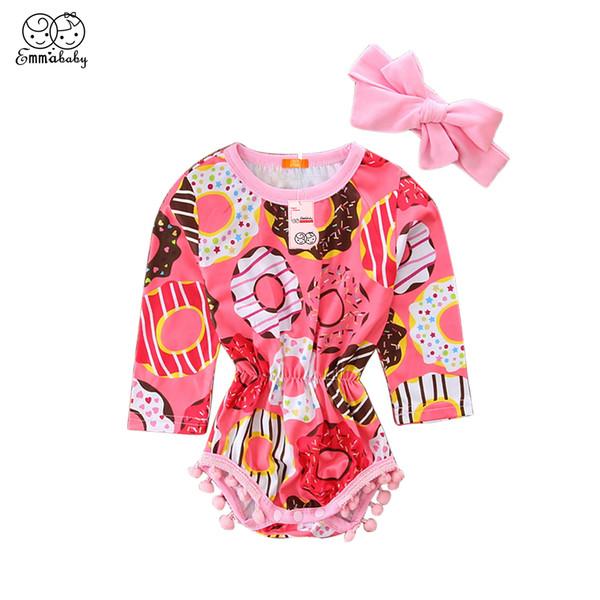 2PCS bonito Floral Recém-nascido Bebé Meninas Borlas Long Sleeve Bodysuits Macacão Conjuntos Headband Set Roupa 0-2T