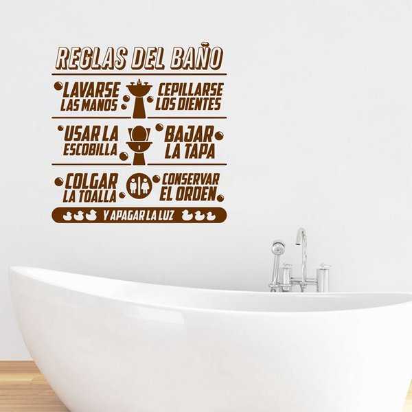 tickers home decor Spanish Bathroom Rules Quotes Vinyl Wall Sticker Children Bathroom Art Design Decals Mural Spanish wall sticker home D...