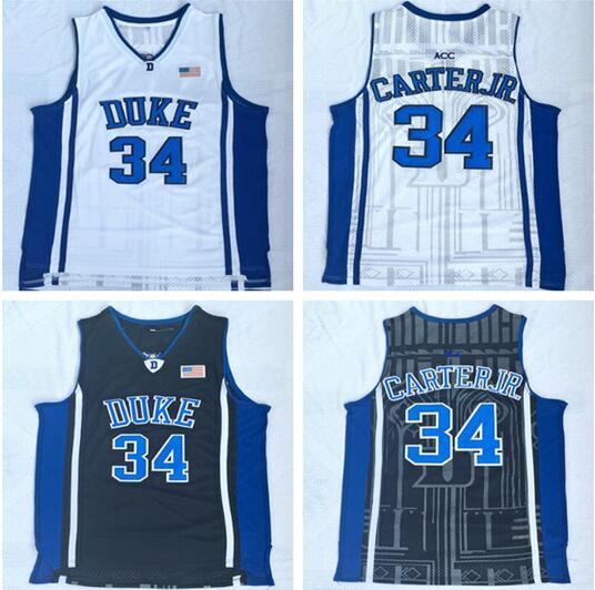 NCAA Duke university 34 Carter black and blue Embroidered Jersey Men's Basketball Vests