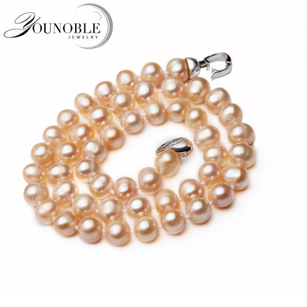 Echte nahe runde rosa natürliche Süßwasserperlen-Halskette für Frauen, Hochzeit Choker Halskette Jubiläumsgeschenk