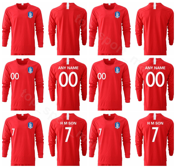 South Korea H M SON Long Sleeve Jersey 2019 2020 Men Soccer YHGO YLEE HMSON Football Shirt Kits Uniform Red