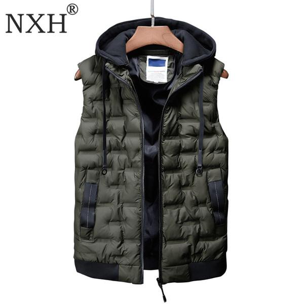 2019 New Hat Detachable Vest Jacket Men Winter Coat Thick Warm Solid Sleeveless Jacket Homme L-3XL Men Tops waterproof windbreak