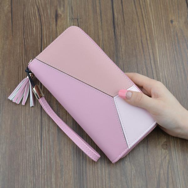 Kontrast renk dikiş uzun cüzdan bayanlar debriyaj çanta kadın 2019 yeni moda Japonya ve Güney Kore büyük kapasiteli fermuar wallet1