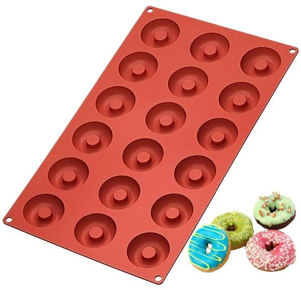 Donut Kalıp Çikolata Kalıpları yapışmaz Silikon Donut Maker Küçük Donuts Çerezler için Emniyet Pişirme Kalıp Pişirme Araçları HHA677