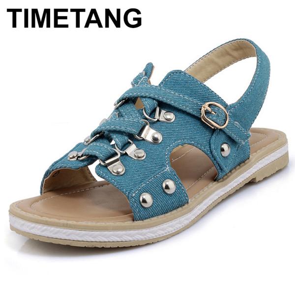TIMETANG Denim Gladiator Sandals Women Flat Sandals Ladies platform summer shoes woman 2019 femmesE402