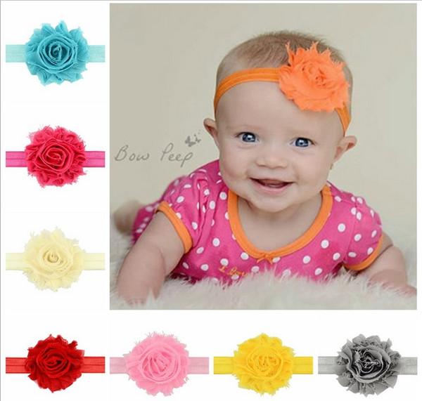 Bébé enfants bandeau coloré fleurs fleurs de bandeau fille Bijoux de cheveux élastique