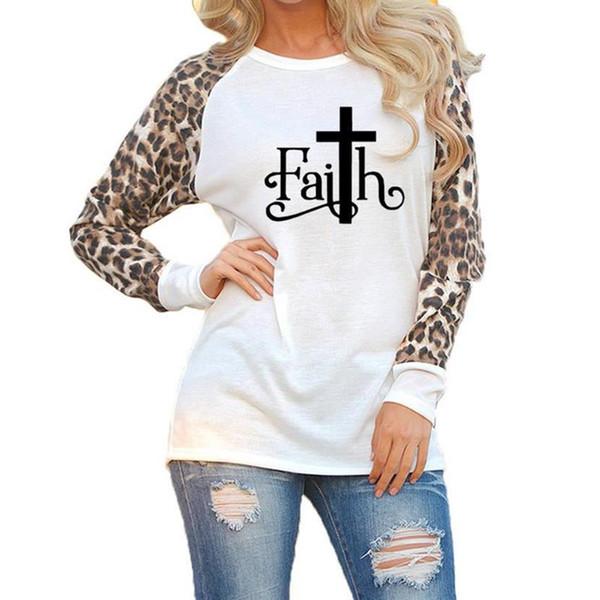 Nouvelle Arrivée Imprimé Léopard À Manches Longues T-Shirt T-Shirt pour Femmes Faith Lettres Plus La Taille Tops Femmes Femme Été Coton