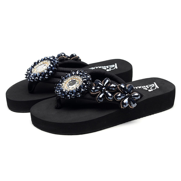 Roman style lady YOUYEDIAN Slippers Girls Solid Wedges Crystal Flip Flops Sandals Slippers Beach Shoes zapatos de mujer