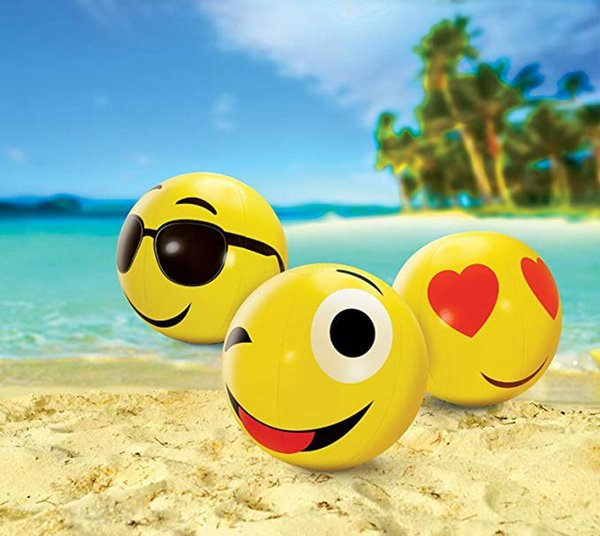 12inch Emoji Face Beach Ball Inflatable Round for Water Play Pool PVC Toys Party supply Kids Gift 500pc LJA2397