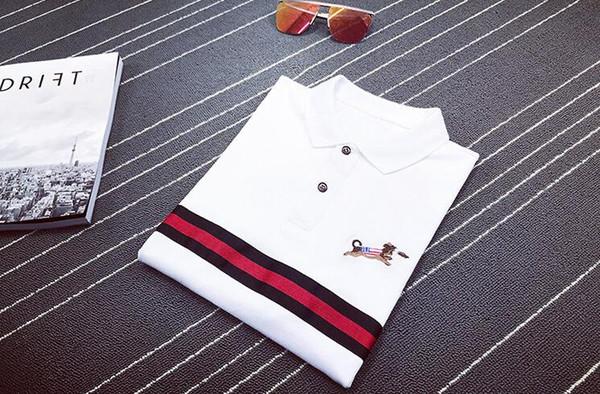2019 мужские поло лето весна белый цвет вышивка собака лацкан футболки для мужчин тонкие футболки размер S-XL