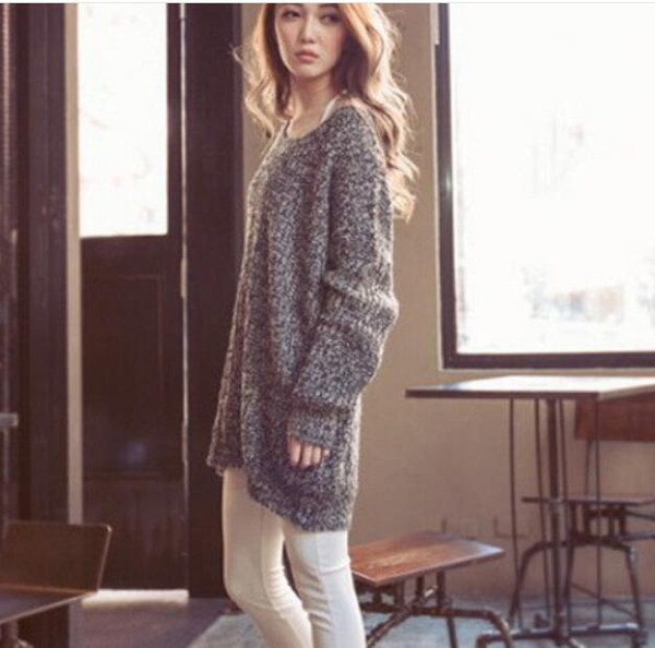 Maglione allentato pullover a maniche lunghe girocollo grande versione del cappotto donne maglione variegate