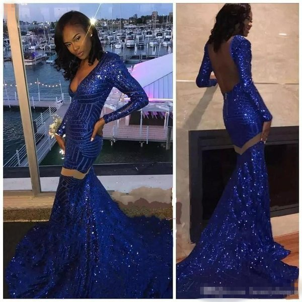 2018 New Design Sparkly Royal Blue Sequins Prom Dresses Mermaid V Neck Long Sleeves Prom Dresses Evening Wear African Party Gown