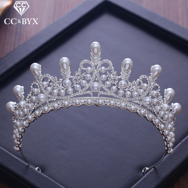 Cc Tiaras And Crowns Luxury Cz Pearl Princess Pageant Engagement Wedding Hair Accessories For Bridal Jewelry Shine Crystal Xy056 Y19061503