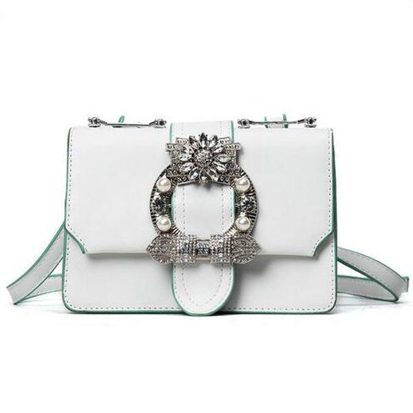 2019 Fashion New Handbags Quality PU Leather Women bag British Retro Trend Rivet Square bag Ladies Diamond Shoulder Messenger bag
