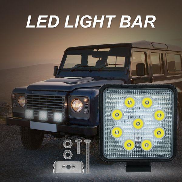 1 PCS 27W Luz blanca Coche LED Luz de trabajo Barra de reflector para camión SUV Off road Driving Offroad Roof Spot