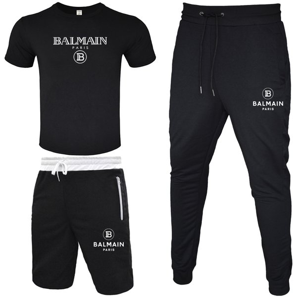 best selling BALMAIN Men Tracksuit 2020 T-shirt+Short Pant+Long Pant 3 Piece Sets Solid Color Outfit Suits High Quality Tracksuits