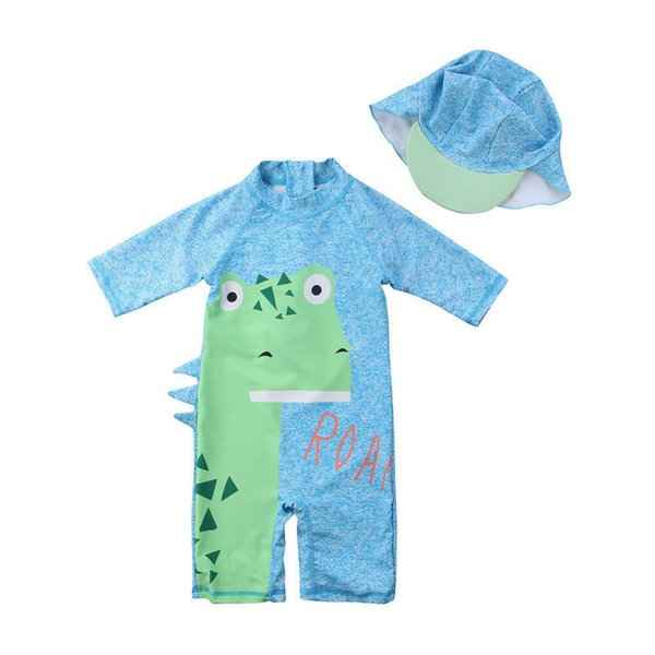 2018 Brand New Toddler Infant Child Kids Baby Boy Girl Kid Dinosaur Surfing Swimsuit Jumpsuit Bathing Suit 2pcs Clothes Outfits C19041001