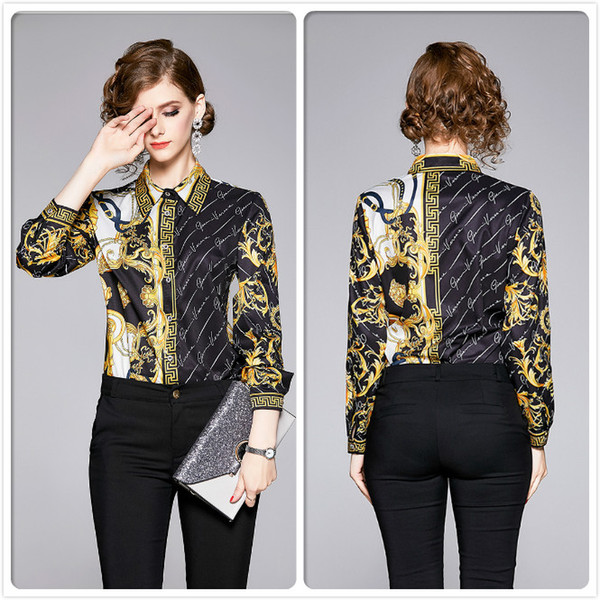 best selling Top Selling Fall Winter Print Shirts Luxury Women's Clothing Lapel Neck Blouses Elegant Office Business Lady Slim Fit Stylish Shirts Tops