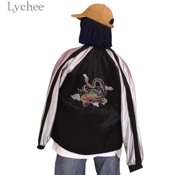 Lychee Bahar Ejderha Nakış Kadın Beyzbol Ceket Cepler Fermuar Gevşek Uzun Kollu Casual Gevşek Kadın Ceket