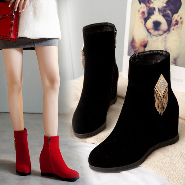 best selling Plus size 34 to 40 41 42 43 women ankle boots red black increased height wedge shoes designer bootie Come With Box