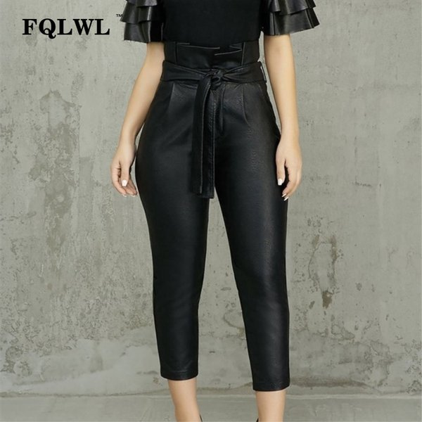 FQLWL Faux Pu Leather Pants Women Trousers Sashes High Waist Bodycon Sexy Pants Female Spring Winter Pencil Black Skinny
