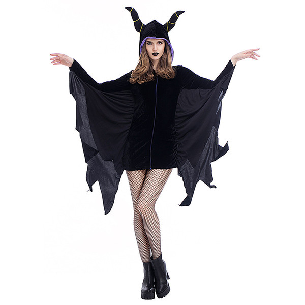 Maléfica Disfraz de Cosplay Devils Vampires Uniforme de escenario Mardi Gras Theme Costume Carnaval Halloween Black Queen Fancy Dress