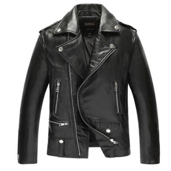 Ücretsiz shipping.fashion man klasik Koyun ceket, erkek ince hakiki deri ceket, gündelik kıyafetler. Moto biker ceket, satış