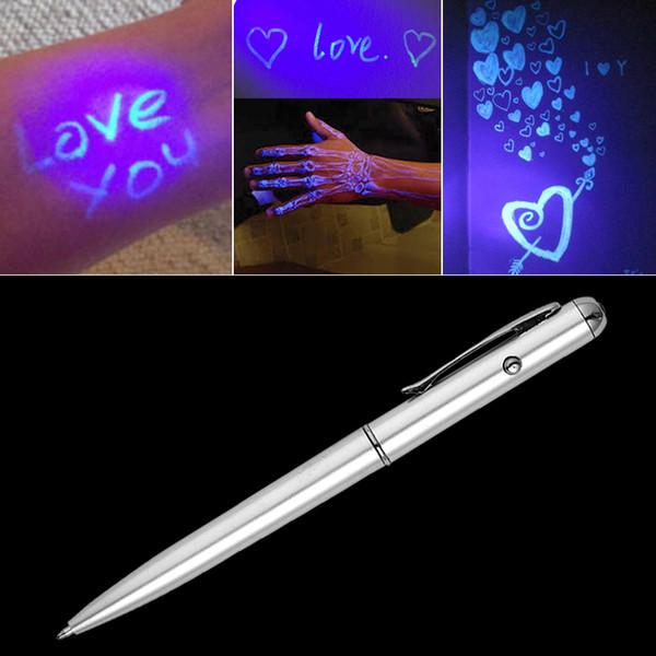 Creative Magic LED UV Light Ballpoint Pen con Tinta Invisible Secret Spy Pen Artículo de la novedad Para Regalos Suministros de Oficina de la Escuela
