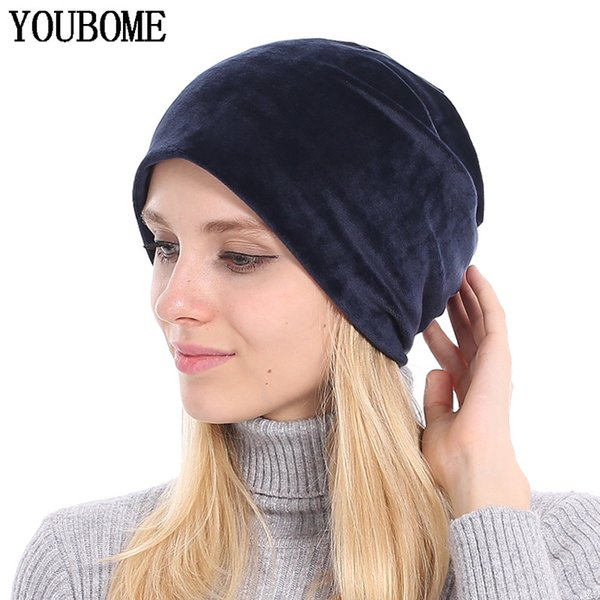 YOUBOME Beanie Hat Women Winter Hats For Women Skullies Beanies Baggy Bonnet Velvet Solid Lady Caps Autumn Female Knitted Hat S1218