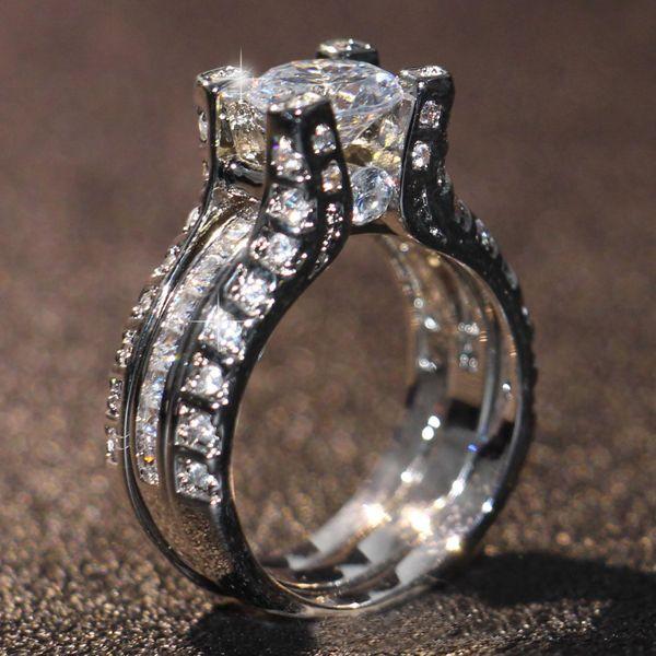 Размер 5-10 ретро старинные ювелирные изделия 10KT Белое Золото Заполненные Круглый Cut Топаз CZ Алмазный Бриллиантовые женские Свадебные кольцо Набор для влюбленных G