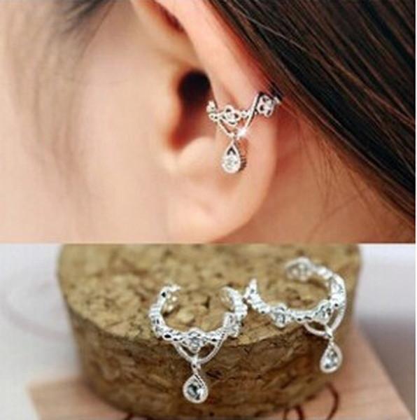 Zircon Rhinestone Drop Ear Clips Non Piercing Earrings Hoop Ear Cuffs Cartilage Ear Clips for Men Women