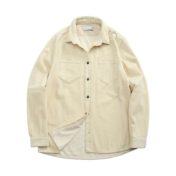top popular topstoney 2020konng gonng Functional corduroy mens shirt spring and autumn fashion brand casual coat Corduroy Long Sleeve Shirt 2021