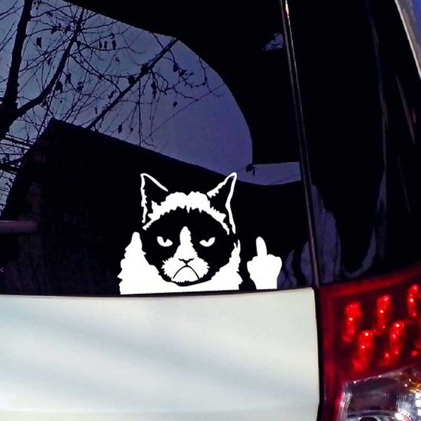 Funny Cat Motorcycle Hook Materproof Cover Scratched Decals Funny Car Stickers