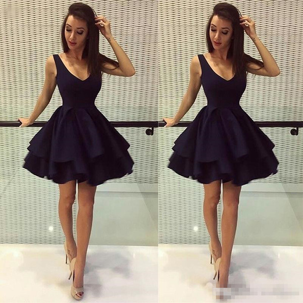 Cheap Little Black Prom Cocktail Dresses Deep V Neck Satin 8th Grade Party Dresses Custom Made Homecoming party Dresses