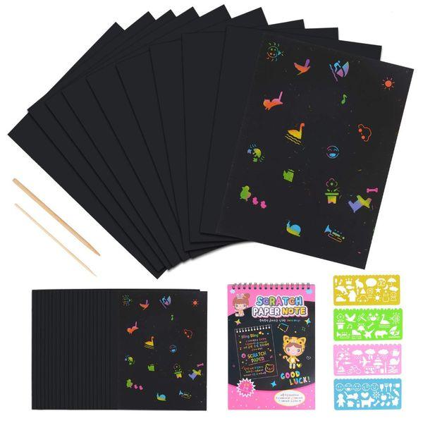 50 hojas de arco iris de papel rayado Papel de rayado Combo conjunto de arte Rainbow Art Doodle Pad Colorido con 4 plantillas de dibujo Plantilla Regla