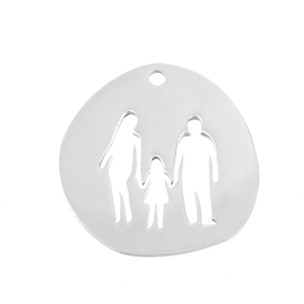 Family Pendants Dad Mum Children Boy Girls in Charms for Print Both Sides Mirror Polish Stainless Steel Wholesale 100pcs