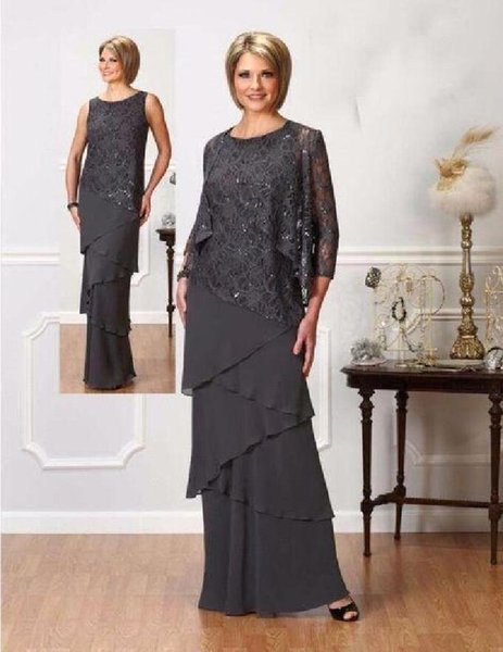 Dark Gray Mother Of The Bride Dresses Beaded Sequins Tiers Chiffon Formal Evening Gowns With Jacket Wedding Guest Mother Dresses