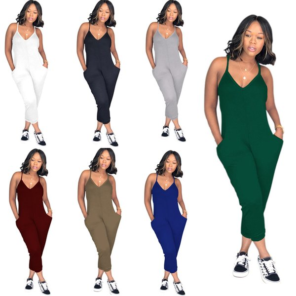 Plus Size Summer Women Sleeveless Romper V Neck Strap Overalls Wide Legs Pants One Piece Tank Jumpsuit Loose Pants Clubwear Playsuit C51413