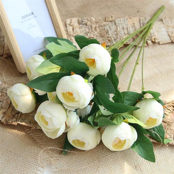 """Fake Tea Rose (15 heads/piece) 21.66"""" Length Simulation Spring Camellia for Wedding Home Decorative Artificial Flower"""