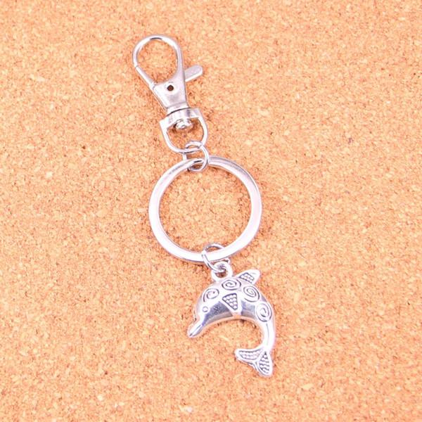 Dolphin Keychain Silver Swivel Lobster Clasp Clips Handbag Car Charms Jewelry For Key Chain Trinket Jewelry Gift