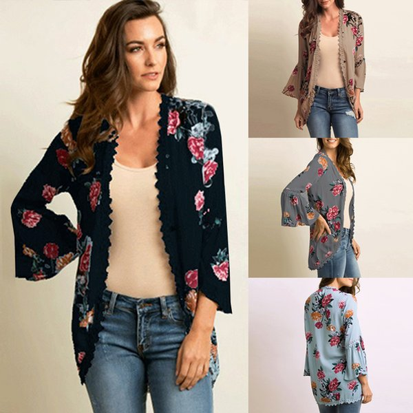 Women Blouse Shirts Casual Kimono Cardigan Floral Print Open Front Boho Loose Outerwear Beach Bikini Cover Up Sun-proof Top 2019