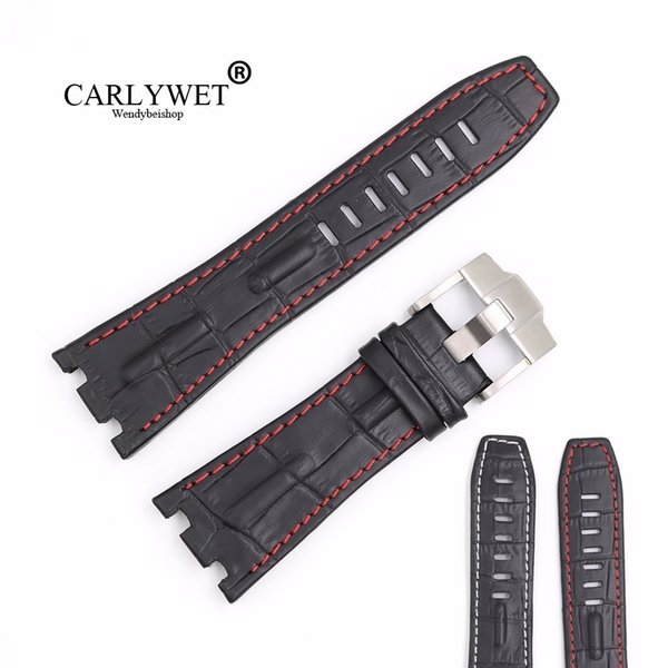 Carlywet 28mm Siyah Gerçek Deri El Yapımı Kalın Bilek Watch Band Kayışı Kemer Kraliyet Meşe Offshore Audemars Piguet 42mm Y19070902