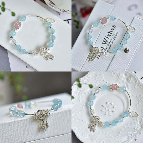925 natural blue agate bracelet collocation s silver arrest dream net pendant bend tube etc. accessories