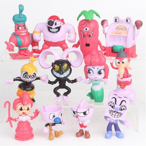 12 unids / set Juego Cuphead cáliz muñeca de plástico Kids juego de dibujos animados Mugman The Devil Legendary Chalice artículos de novedad CCA10771 12set