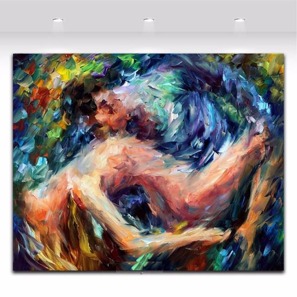 100% Peint À La Main Nude Homme Et Femmes Amant Peinture À L'huile Sur Toile Mur Art Peinture Abstraite Pour Le Salon Home Decor Haute Qualité p165