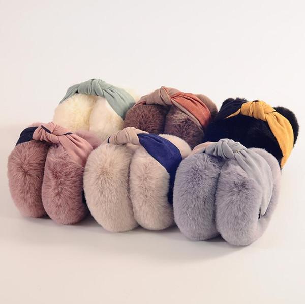Kadınlar Kabarık Earmuffs U Kadınlar Fleece Isıtıcılar Kulaklık earlap C56R1 için Katı Renk Sıcak Yumuşak Peluş Kürk Kulak Muff Kız Kış Kulak Kapak seç