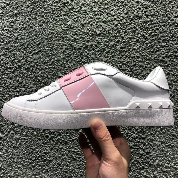 2019 розовые белые кожаные открытые туфли Fashions дизайнерские женщины мужчины черные сращивания повседневная обувь 8 цветов с низким верхом кроссовки балетки
