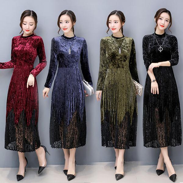 Work Business Office Party A-line Long Dress Fashion Vestidos Women Spring Autumn Elegant Velvet Long Sleeve Dresses Vintage