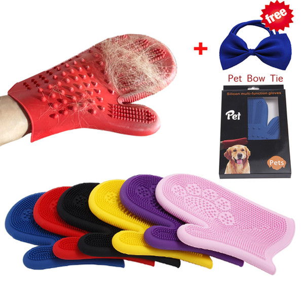 Silicone Pet Brush Glove Double-sided Use Grooming Cat Glove Dog Bath Cleaning Pet Glove Dog Accessories With Christmas Gift
