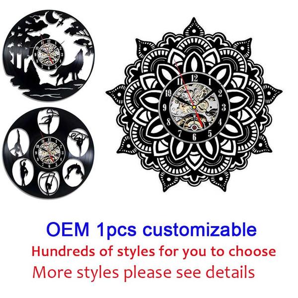 best selling OEM 1pcs customizable 12 inches Black Vinyl Record Wall Classroom Home Decor Wall Art Clock Gift